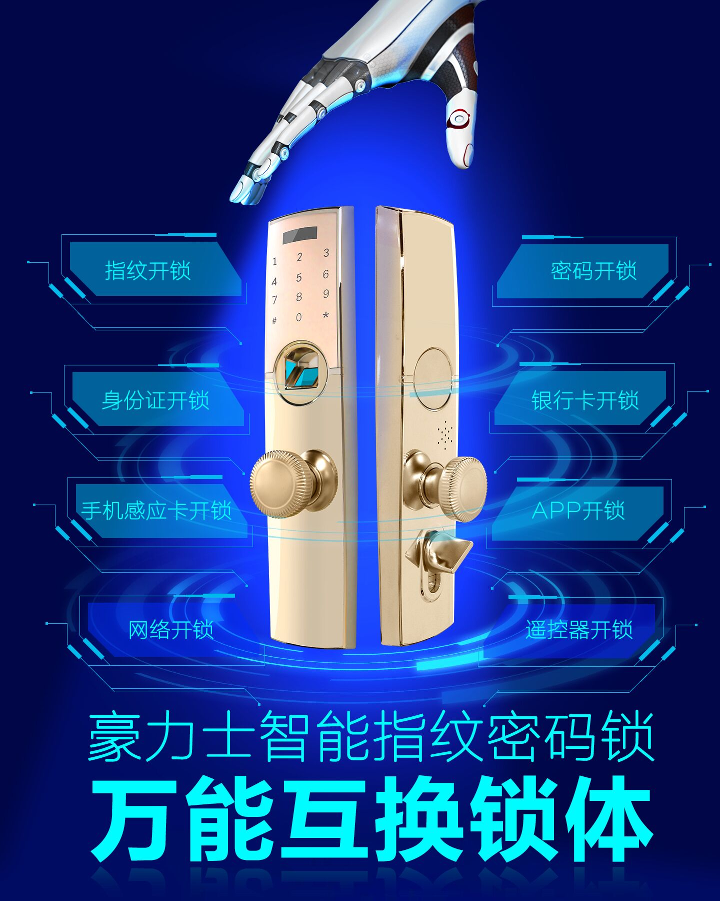 豪力士0755万能互换智能锁